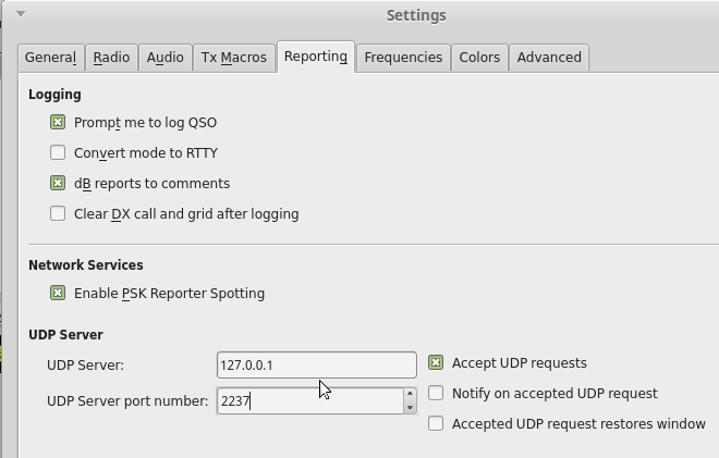 WSJT-X UDP Server Settings